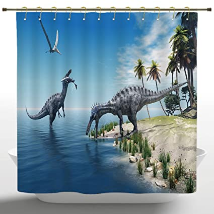 Animal Shower Curtain Wild Suchomimus Dinosaur Print for Bathroom