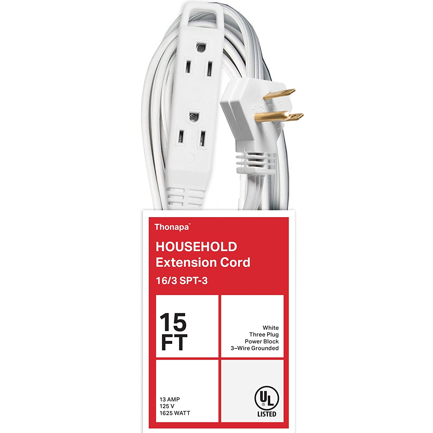 16//3 Durable White Cable TH-163W15P3 Thonapa 15 Ft Extension Cord with 3 Electrical Power Outlets
