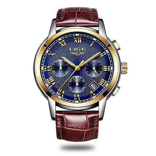 0a98f9e72ba19 LIGE Montres Homme Luxe Affaires Montre à Quartz Analogique Beau Montres  Bracelet en Cuir pour les