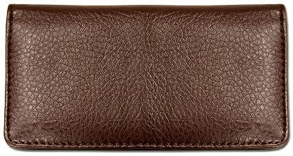 f00e6646d7f6 Dark Brown Textured Leather Checkbook Cover