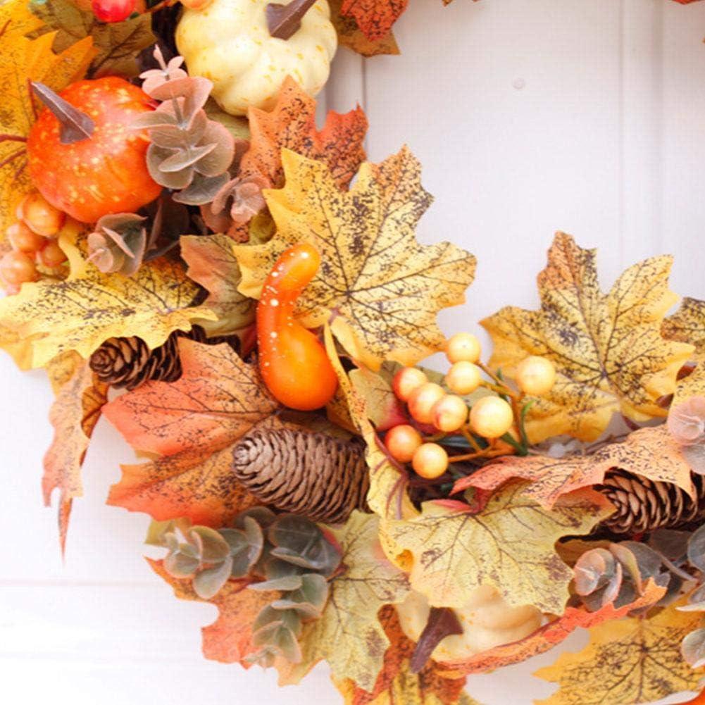 Luckyx Wreaths Garlands Artificial Pumpkin Wreath Lifelike Durable Front Door Decoration Wreath Pendant for Thanksgiving Halloween Easter.