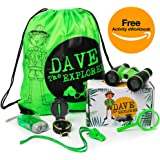 Dave The Explorer - Kids Explorer Kit - Outdoor Adventure Backpack with Toys: Magnifying Glass, Flashlight, Whistle, Binoculars & Compass for Kids - Plus eWorkbook - Educational Boy Girl STEM Kit