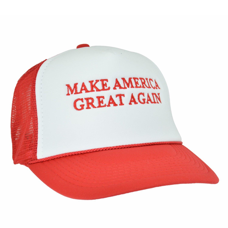 Amazon.com  Make America Great Again Republican Cap Embroider Red White Trucker  Hat Donald Trump  Clothing 22ece65627d