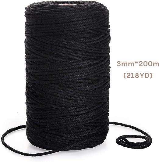 EKKONG Cuerda algodón, Cuerda Trenzada de algodón de macramé de 3 ...