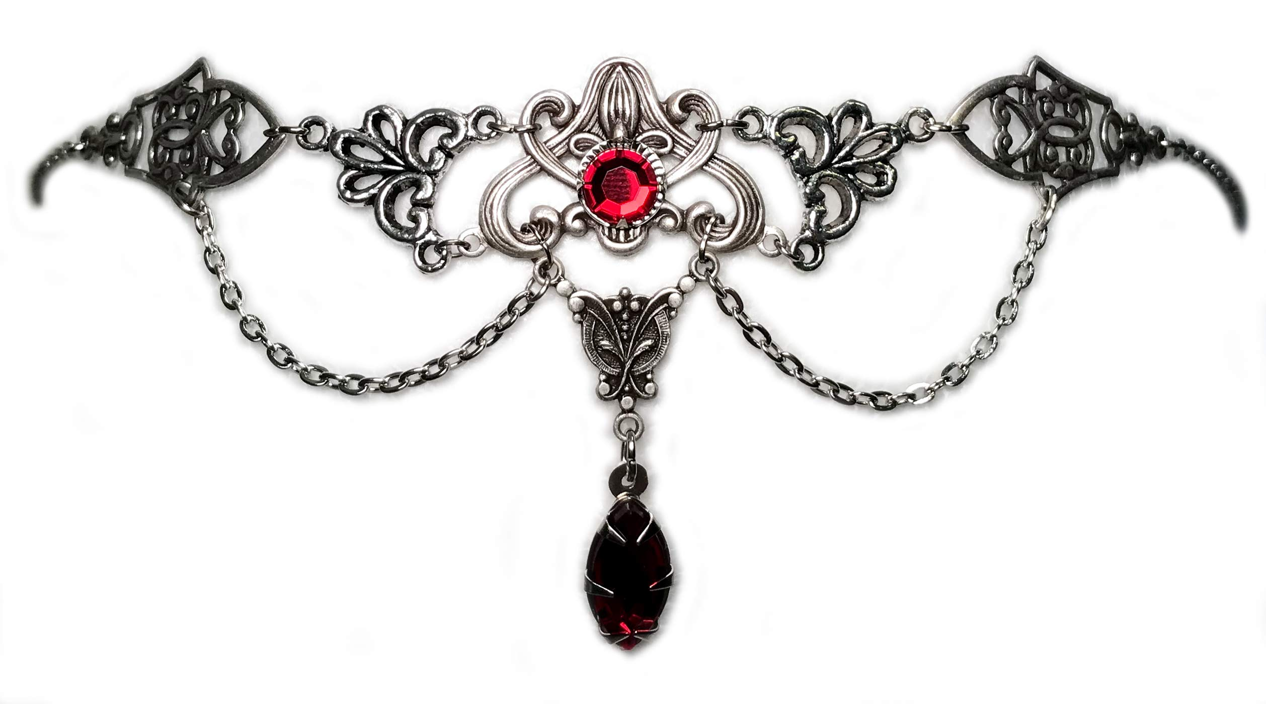 Art Nouveau Filigree Headpiece w/ Ruby Red Stones