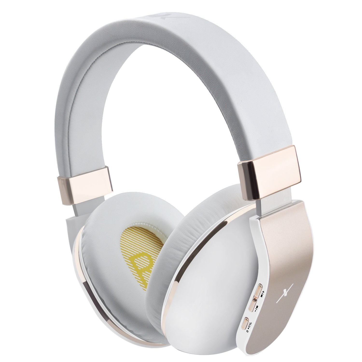 Riwbox XBT-780 Bluetooth Headphones Over Ear, Noise Isolatio V5.0 Wireless Headset with Volume Control, w/Built-in Mic and Wired Mode for PC/Cell Phones/TV (Gold White)