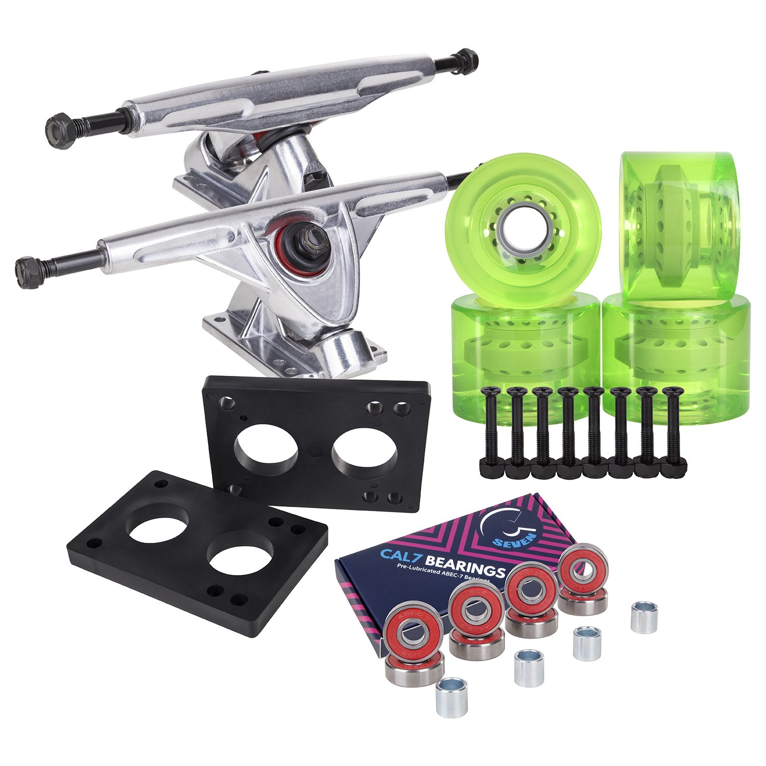 Cal 7 Longboard Skateboard Combo Package with 70mm Wheels & 180mm Lightweight Aluminum Trucks, Bearings Complete Set & Steel Hardware (Silver Truck + Transparent Green Wheels) by Cal 7