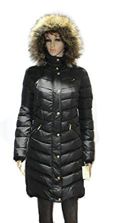 128370f33a48d MICHAEL Kors Hooded Faux Fur Down Puffer Coat women's black Knit panels  jacket ...
