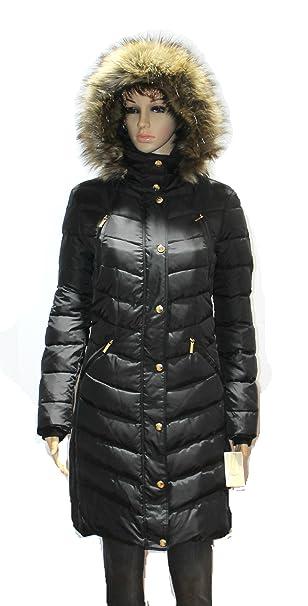 74d1a625ee4e08 MICHAEL Kors Hooded Faux Fur Down Puffer Coat women's black Knit panels  jacket (M): Amazon.ca: Clothing & Accessories