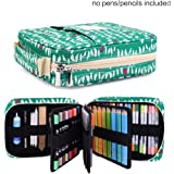 qianshan Pencil Case Holder Slot - Holds 202 Colored Pencils or 136 Gel Pens with Zipper Closure - Large Capacity Pen Organizer for Watercolor Pens & Markers for Students & Artist Green Birds