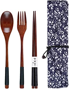 Yunhany Direct Wooden Cutlery Set Portable Eco Friendly Reusable Flatware Utensils Set Fork + Spoon + Chopsticks w/Pouch for Camping Office Lunch (Color : Black Twining Thread)