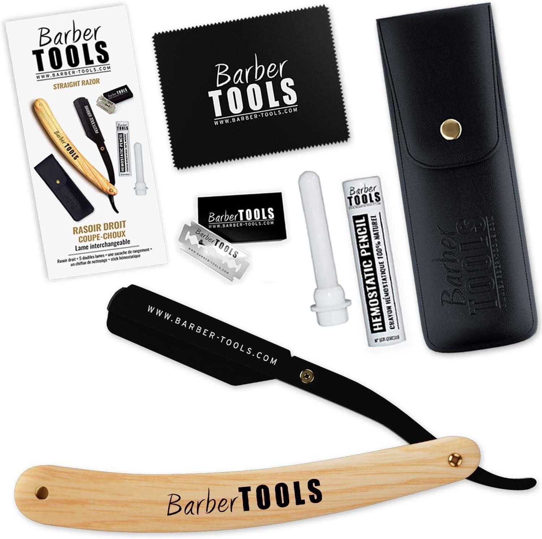 ✮ Barber Tools ✮ Navaja de afeitar + 5 cuchillas de doble hoja (10 cuchillas simples) + Paño de pulir + Almacenamiento Pu + Palo hemostático