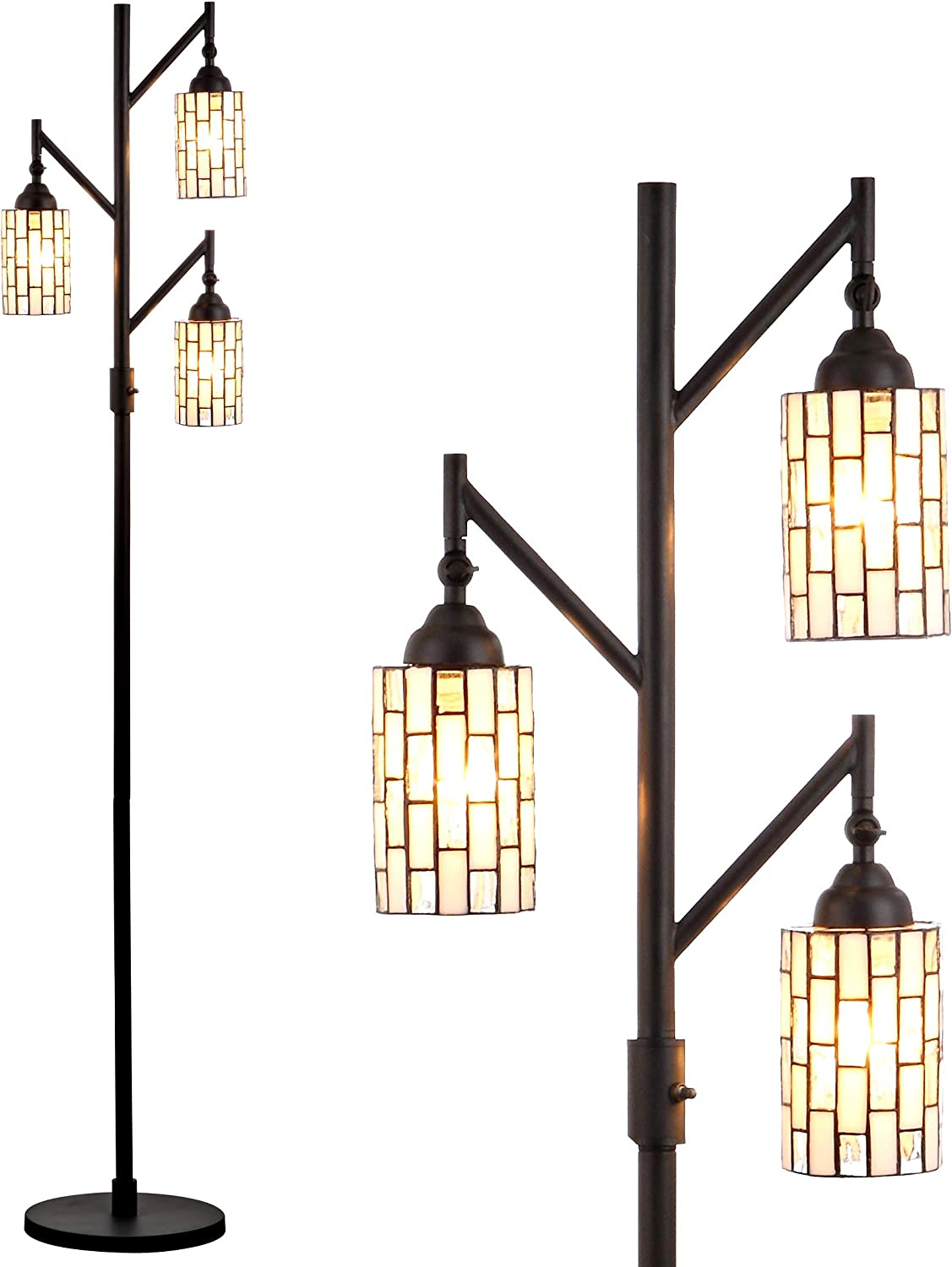 JONATHAN Y JYL8012A Lewis Tiffany 71 Multi Floor Lamp, Classic Traditional Styling, 3 Lights, Bulbs Included, Bronze