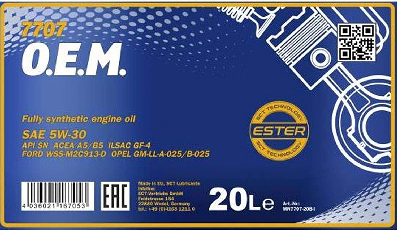 1 X 20l Mannol 7707 5w 30 Acea A5 B5 Motoröl Wss M2c913 C Auto