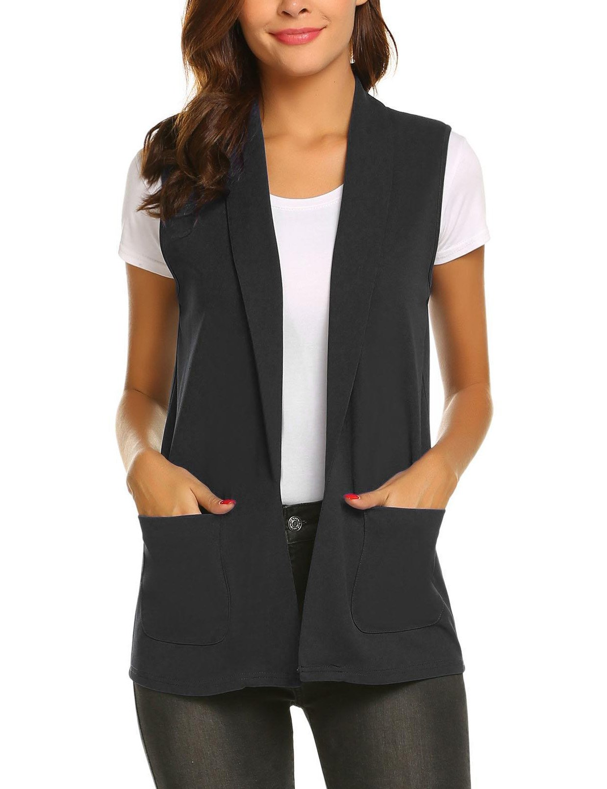 Aimado Women Summer Short Blazers Casual Solid Notched Collar Basic Waistcoat(Black,Large)