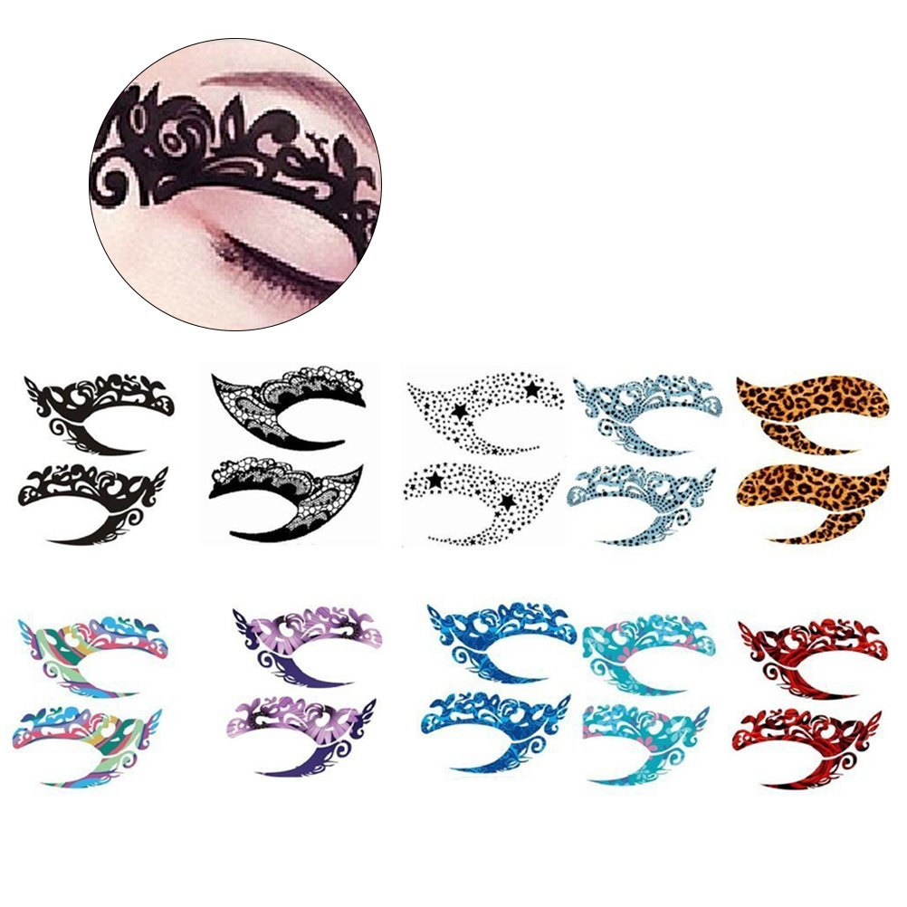 Frcolor 10-sheet Temporary Tattoo Stickers Temporary Transfer Eyeshadow Eyeliner Tattoo Sticker for Party