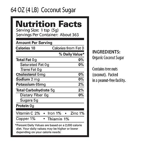 Tresomega Nutrition Organic Coconut Sugar, 4 Pound (Pack of 6)