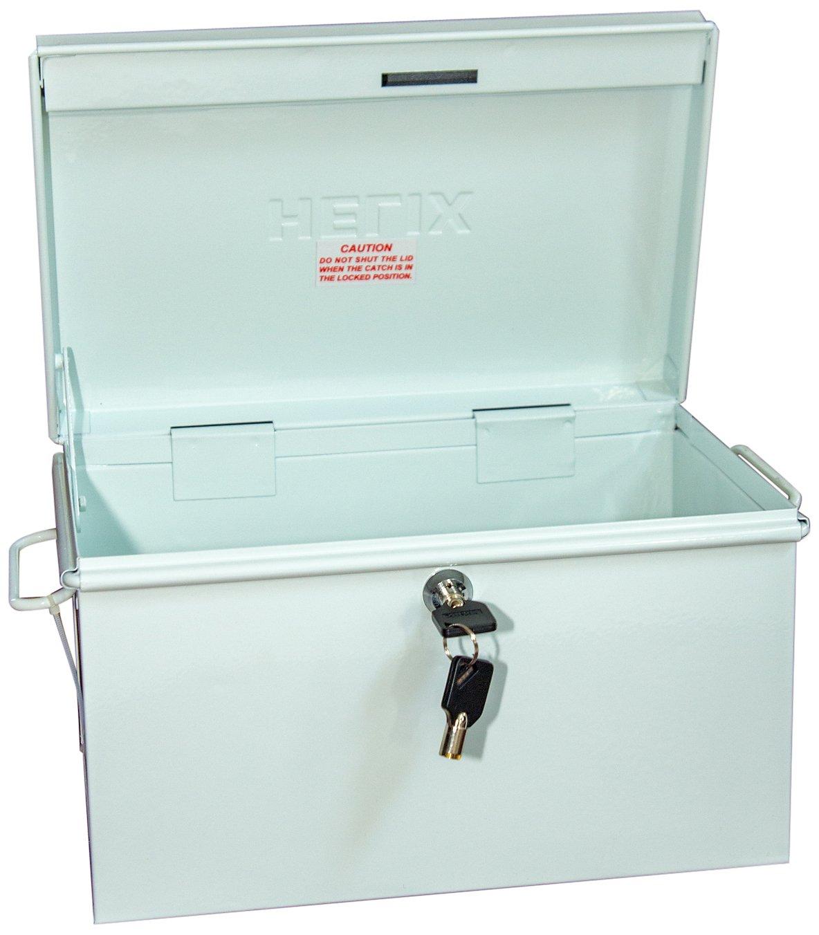 Helix Locking Prescription Drug Security Chest with Tether, Heavy-Duty Steel Construction, Size 12.5 x 7.25 x 8 inches – White (32480)