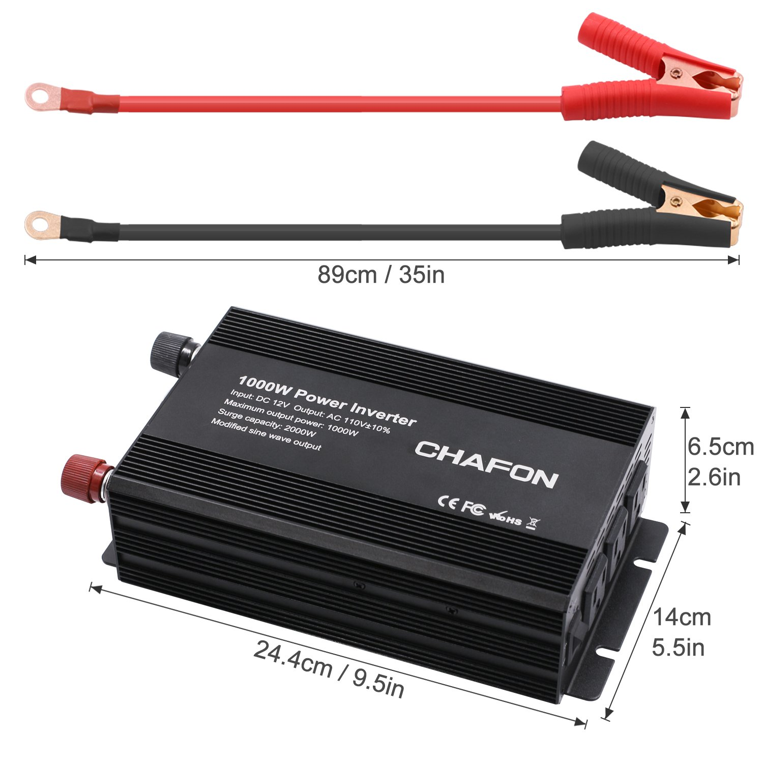 Chafon 1000W Power Inverter DC 12V to 110V with 3 AC Outlets Car Inverter for Household Appliances, RV Solar Kit in case Emergency, Outage and Hurricane - Black by CHAFON (Image #2)