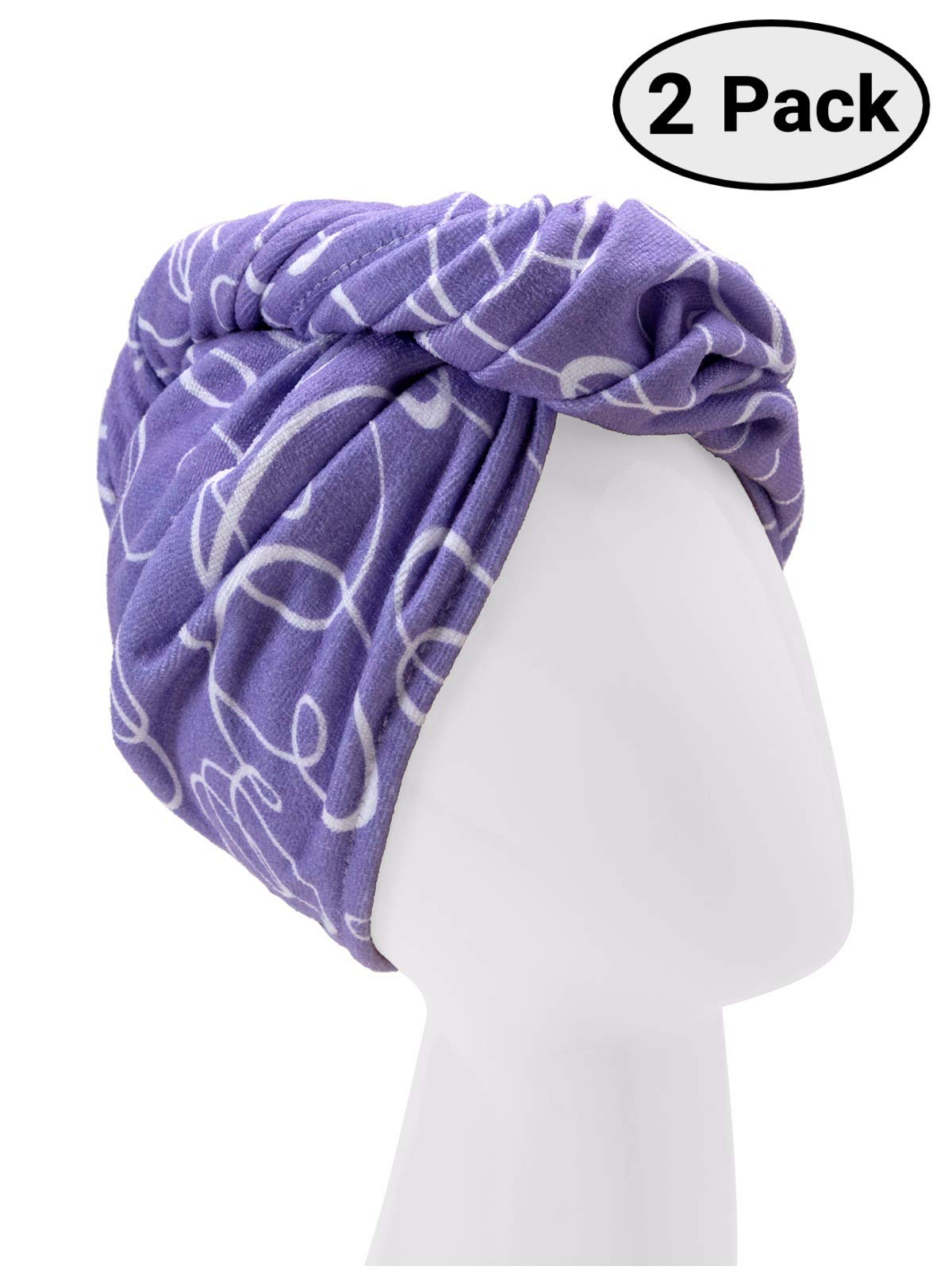 Turbie Twist Microfiber Hair Towel Wrap [2 Pack] - The Original Microfiber Hair Wrap As Seen On TV! Signature Prints [Purple] Hair Turban Towel Wraps - Plopping Towel for Long and Curly Hair Women by Turbie Twist