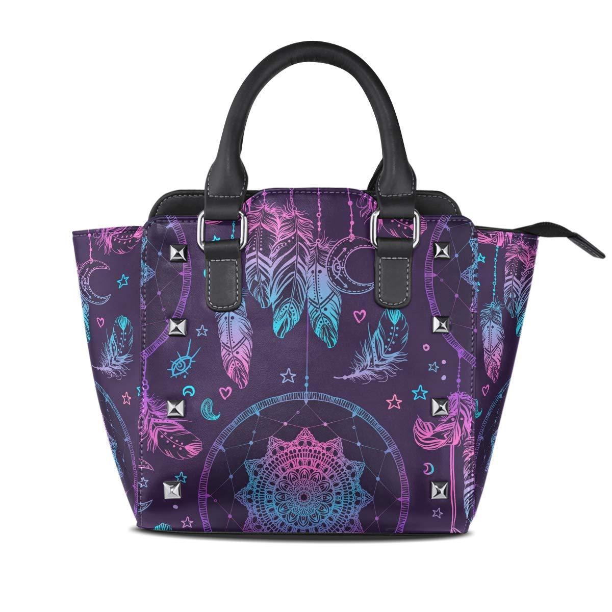 Design1 Handbag colorful Dream Catcher Genuine Leather Tote Rivet Bag Shoulder Strap Top Handle Women