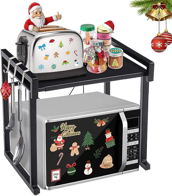 6 Hooks 2 Tiers Kitchen Shelf Microwave Stand Oven Rack Storage Bracket Wood AU