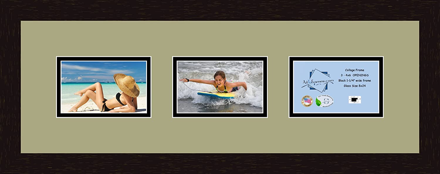 Art to Frames Double-Multimat-60-861//89-FRBW26061 Collage Frame Photo Mat Double Mat with 3-6x4 Openings and Espresso Frame