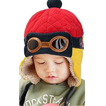 fc309ef211e Unimango Unisex Baby Winter Warm Cap Hat Beanie Pilot Aviator Cartoon Knit  Toque Red