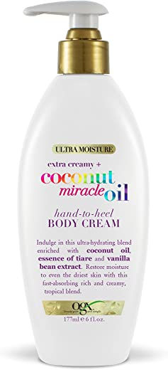 OGX Extra Creamy + Coconut Miracle Oil Hand-to-Heel Body Cream with Vanilla Bean, Fast-Absorbing Body Lotion for Dry Skin, Paraben-Free and…