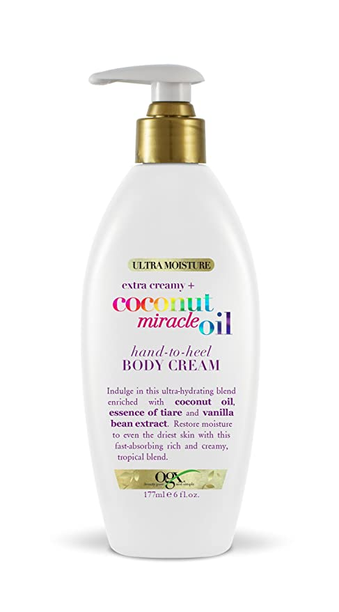 OGX Extra Creamy + Coconut Miracle Oil Hand-to-Heel Body Cream with Vanilla Bean, Fast-Absorbing Body Lotion for Dry Skin, Paraben-Free and Sulfated-Surfactants Free, 6 fl oz   Amazon