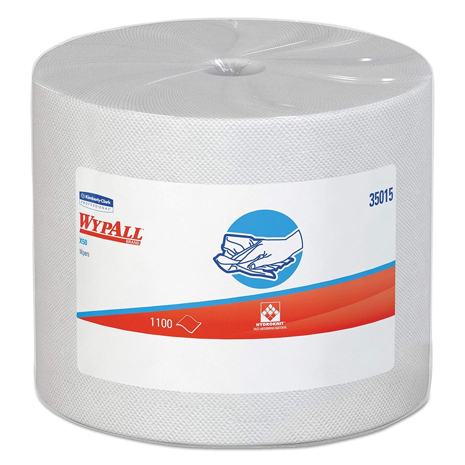 Wypall X50 Cloths, Jumbo Roll, 9 4/5 x 13 2/5, White, 1100/Roll by Wypall