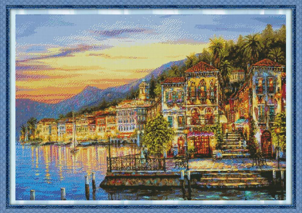 Joy Sunday Counted Cross Stitch Kits,14CT Unprinted Snowscape Embroidery Kit DMC Cross-Stitch Supplies Needlework 23x17