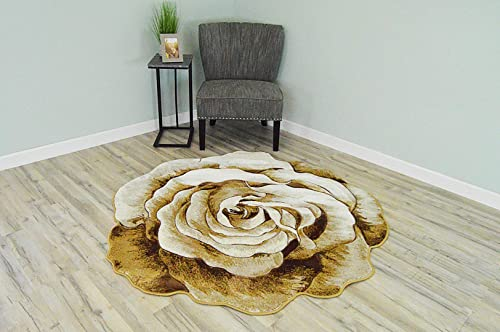 Flowers 3D Effect Hand Carved Thick Artistic Floral Flower Rose Botanical Shape Area Rug Design 304 Beige Cream 6'6''x6'6'' Round