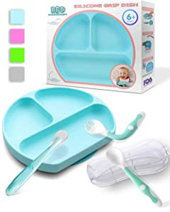 Suction Plates for Toddlers, Baby Spoons and Fork Set (Blue)
