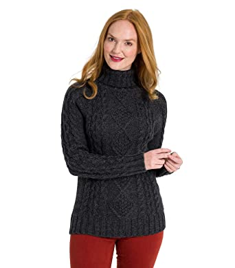 dc6213f000d6 Wool Overs Pull Irlandais à col roulé - Femme - Pure Laine Charcoal ...