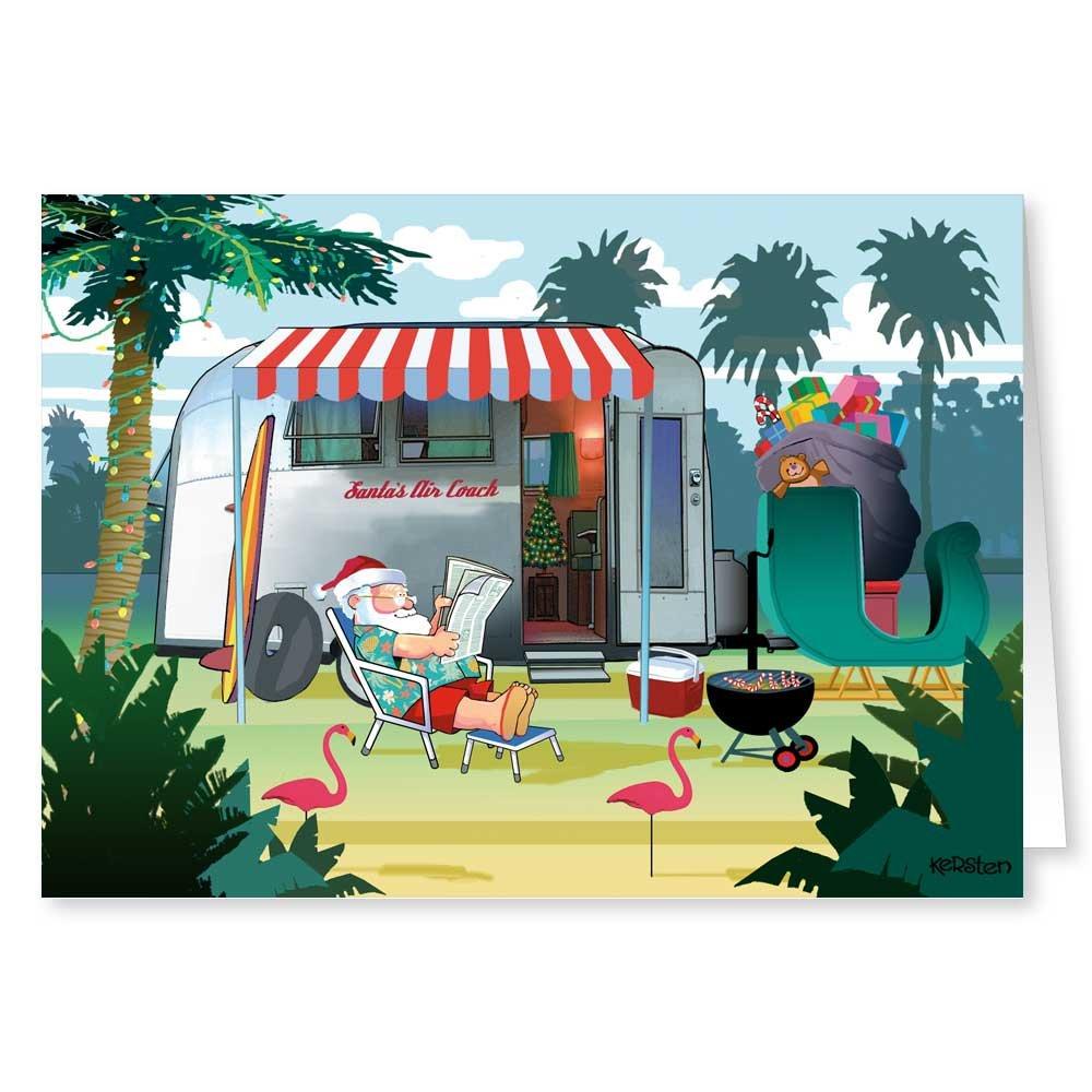 Amazon.com: Camper and Santa Christmas Card - 18 Cards & Envelopes ...