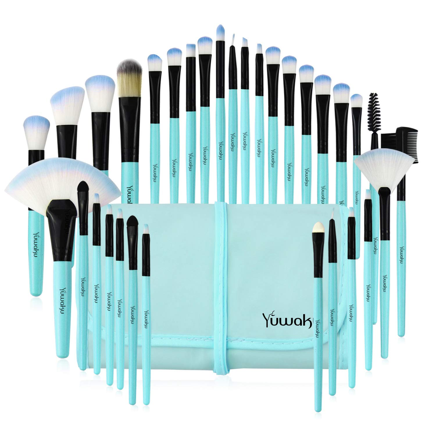 Makeup Brushes Set, 32pcs Blue Premium Cosmetic Make Up Brushes Foundation Blending Blush Concealer Shader Eyeshadow Eyeliner Compatible withTravel Makeup Bag