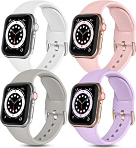 Witzon Compatible with Apple Watch Band 40mm 38mm iWatch Series 6 5 4 3 2 1 SE for Women Girls Ladies, 4 Pack Cute Soft Silicone Replacement Sport Bands, Lavender/Pinksand/White/Gray