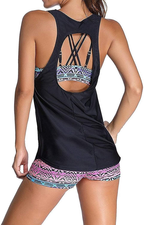 Sucor Damen Separable Badeanz/üge Sport Yoga Fitness 3-Teilig Tankini mit Shorts Strand Bikini Set Beachwear