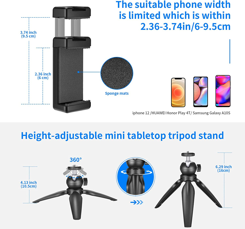 Neewer Kit de Iluminaci/ón para Videoconferencia Iluminaci/ón con Zoom para Ordernador con Ventosa Soporte para Mini Tr/ípode y Soporte para Tel/éfono para Videoconferencia