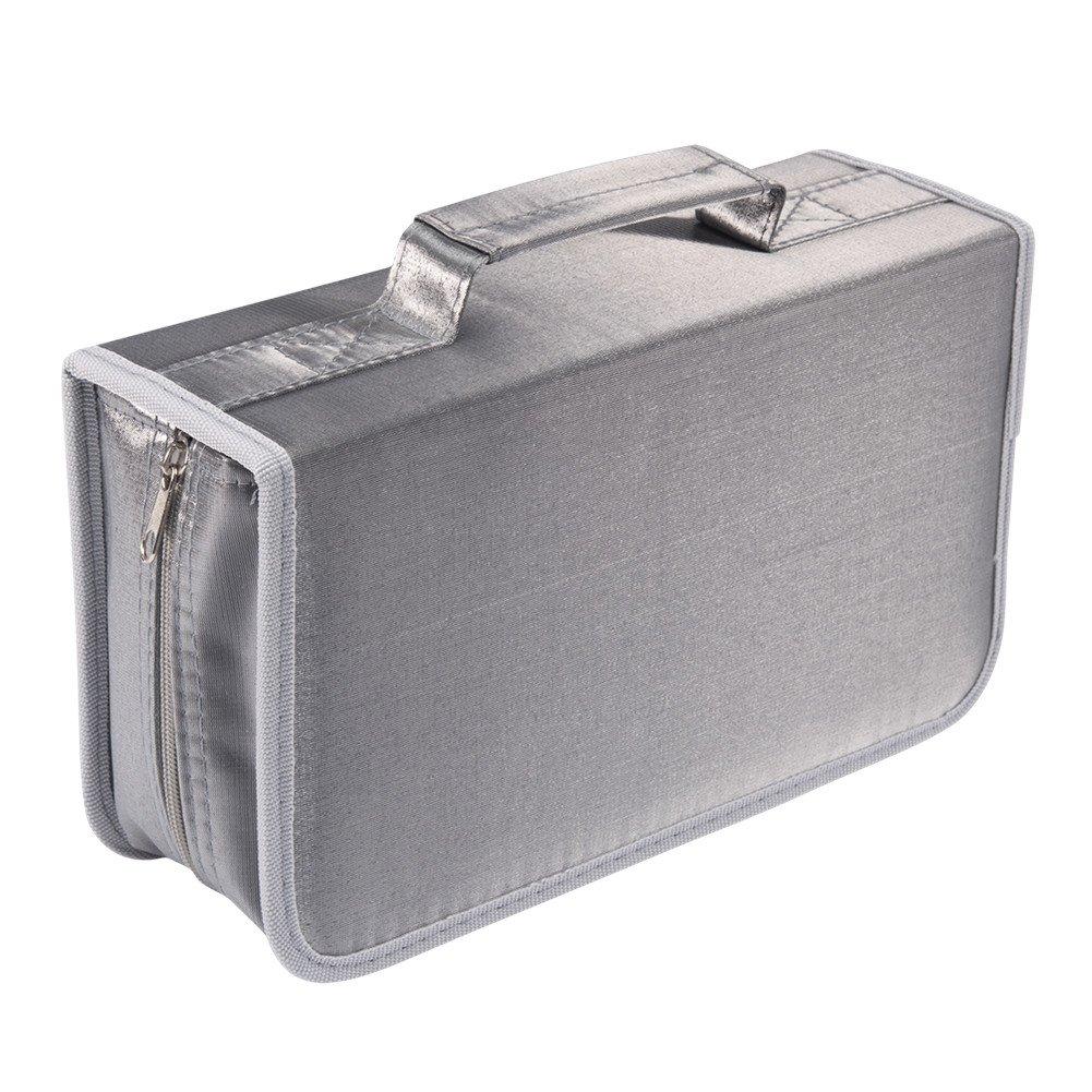 128 Capacity CD/DVD case Wallet, storage,holder,booklet by Rekukos(Silver)