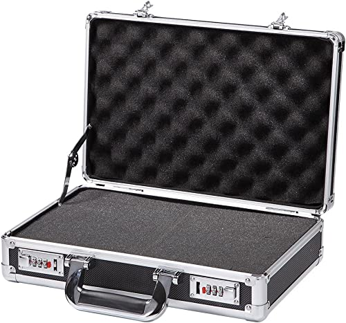 ALUBOX Black Aluminum Hard Case with Foam Insert Small Metal Tool Box with Edge Protection, Aluminum frame, Combo Lock, aviation materials, waterproof and dampproof, TSA APPROVED CARRY