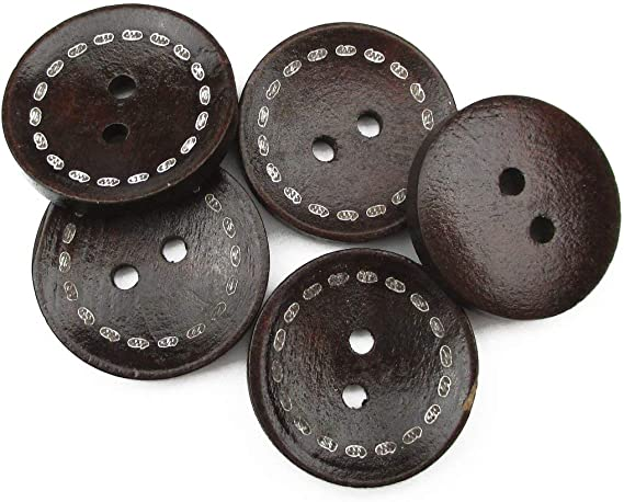 1-3//8 Inch PEPPERLONELY Brand 20PC Dark Brown 4 Hole Scrapbooking Sewing Wood Buttons 35mm