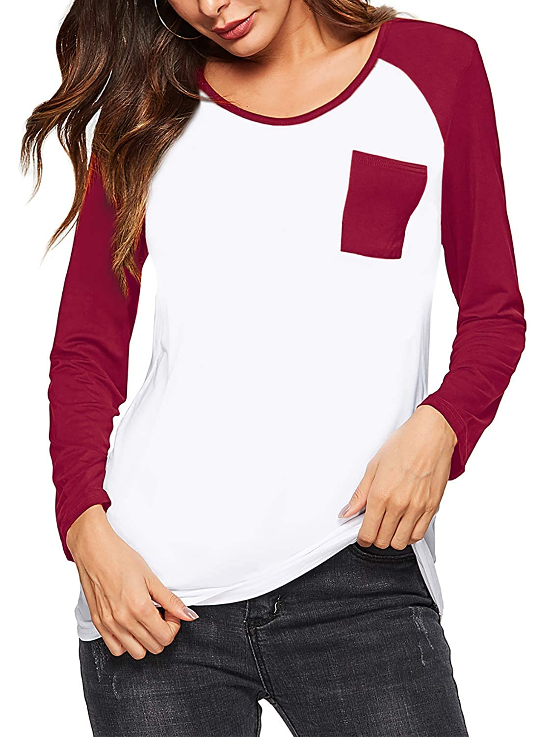 b0fbfde2e Long sleeve raglan shirt with crew neckline, color block, front pocket,  pullover style. Casual relax fit baseball t-shirts, perfect for spring,  summer, ...