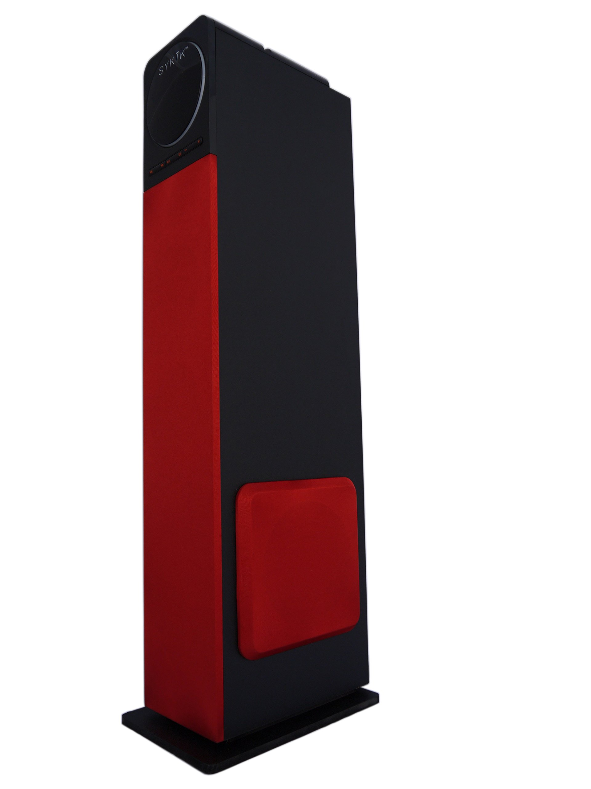 "Sykik Tower TSME26, High power 60W RMS Tower Speaker with Bluetooth, Powerful 6.5"" sub-woofer, pair of 4"" drivers, SD, USB AUX jacks. FM Radio and Remote. (red)"