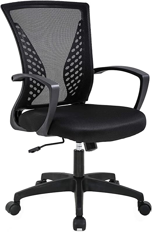 Amazon Com Office Chair Ergonomic Desk Chair Mesh Computer Chair With Lumbar Support Armrest Mid Back Rolling Swivel Adjustable Task Chair For Women Adults Black Furniture Decor