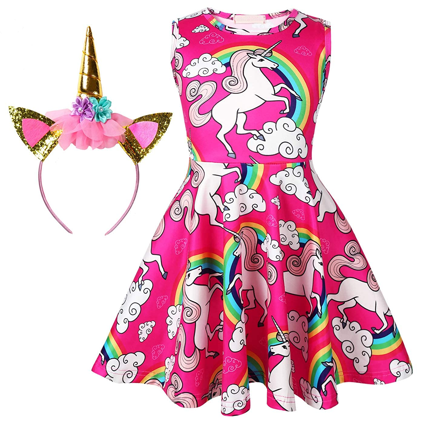 Girl's Unicorn Dress with Headband 4T-11