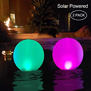 "Floating Pool Lights Inflatable Waterproof IP68 Solar Glow Globe,14"" Outdoor Pool Ball Lamp 4 Color Changing LED Night Light, Party Decor for Swimming Pool,Beach,Garden,Backyard,Lawn,Pathway - 2 PACK"