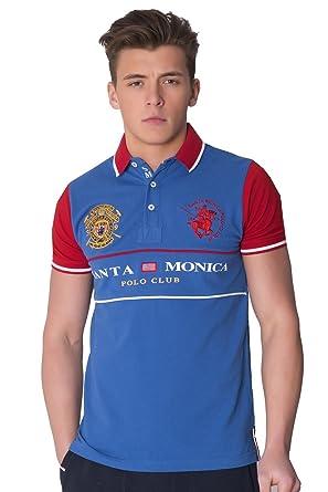 12542b0e Mens Santa Monica Polo Club Orrock Casual Polo Shirt Tee Tops Royal Blue  Size L: Amazon.co.uk: Clothing