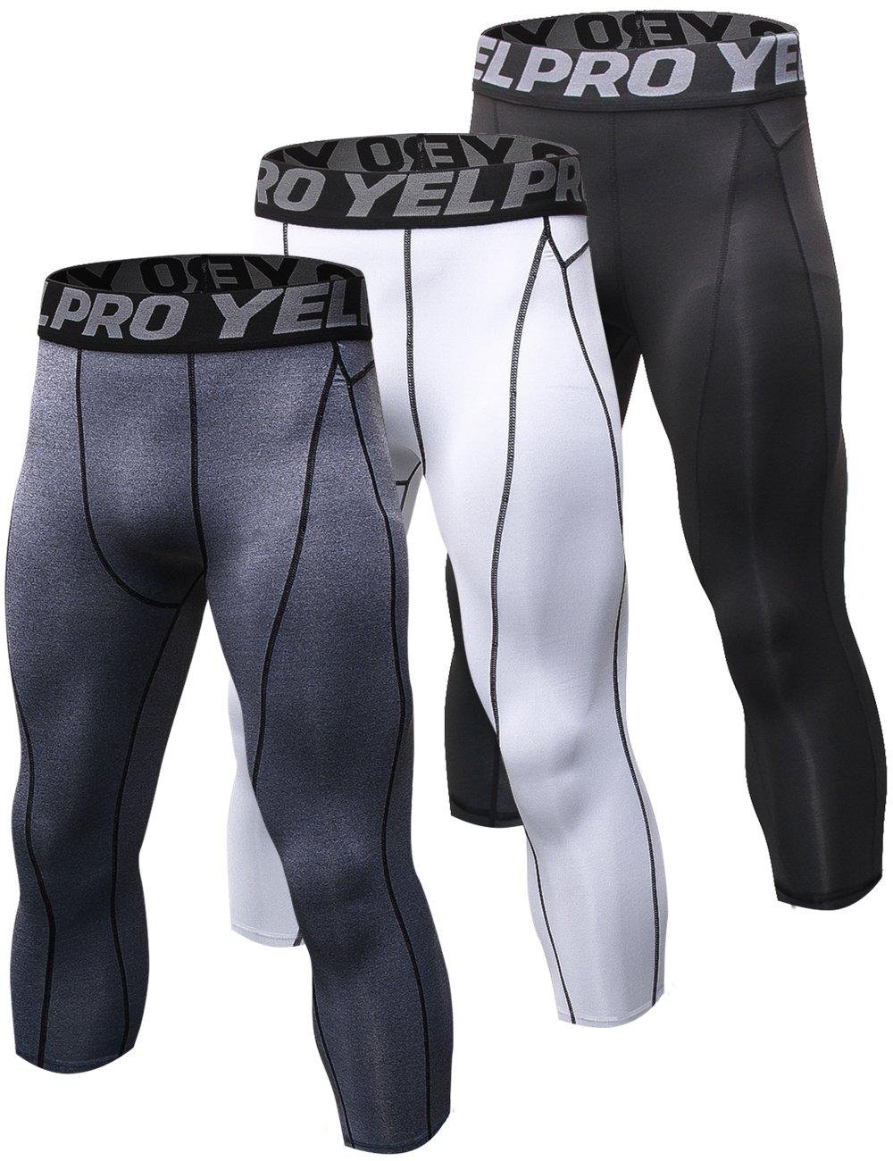 laventoメンズ圧縮ベースレイヤーカプリパンツCool Dry Runningタイツy1051 B07DJ7FPXQ 3 Pack-1051 Black/White/Gray Medium Medium|3 Pack-1051 Black/White/Gray